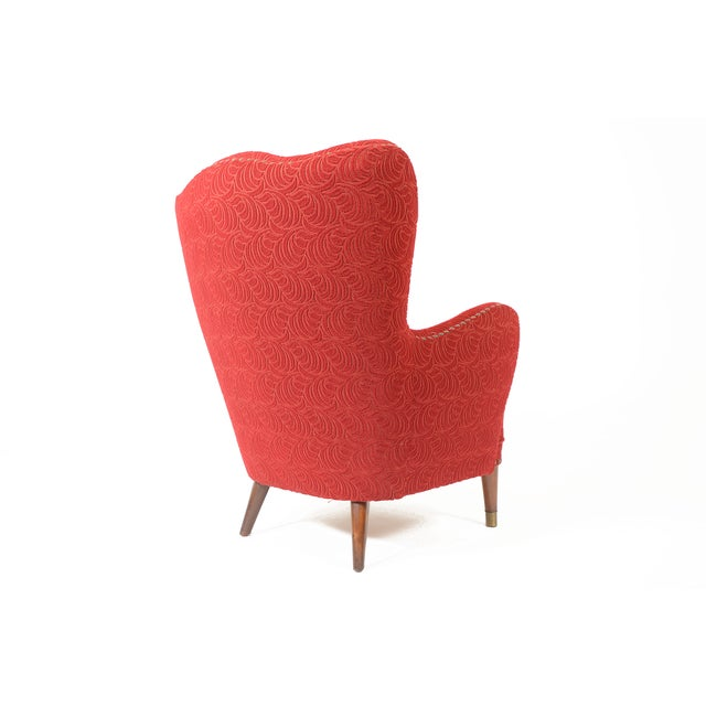 Danish Modern Crimson Frieze Club Chair - Image 6 of 11