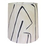 Image of Groundworks Graffito in Linen/Onyx Drum Shade For Sale