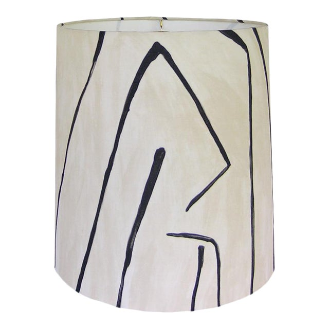 Groundworks Graffito in Linen/Onyx Drum Shade For Sale