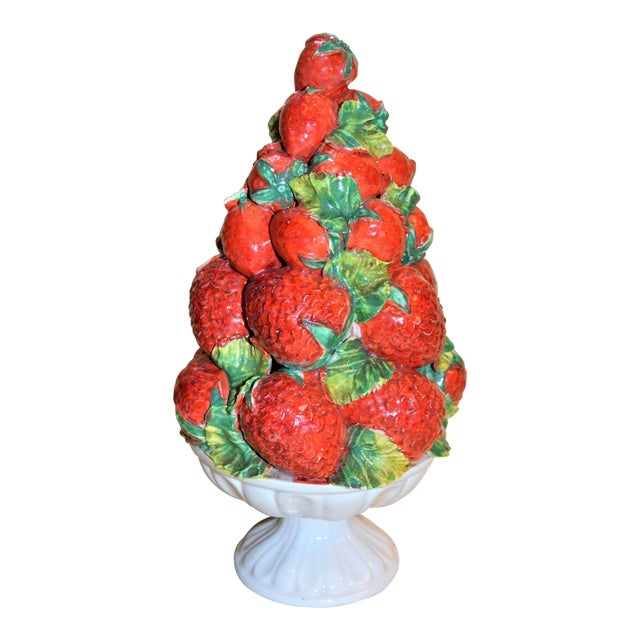 Mid-Century Italian Majolica Strawberry Topiary For Sale