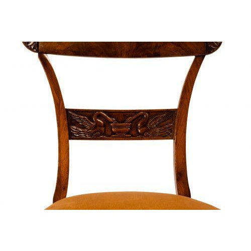 Neoclassical Walnut Neoclassical Side Chairs - A Pair For Sale - Image 3 of 7