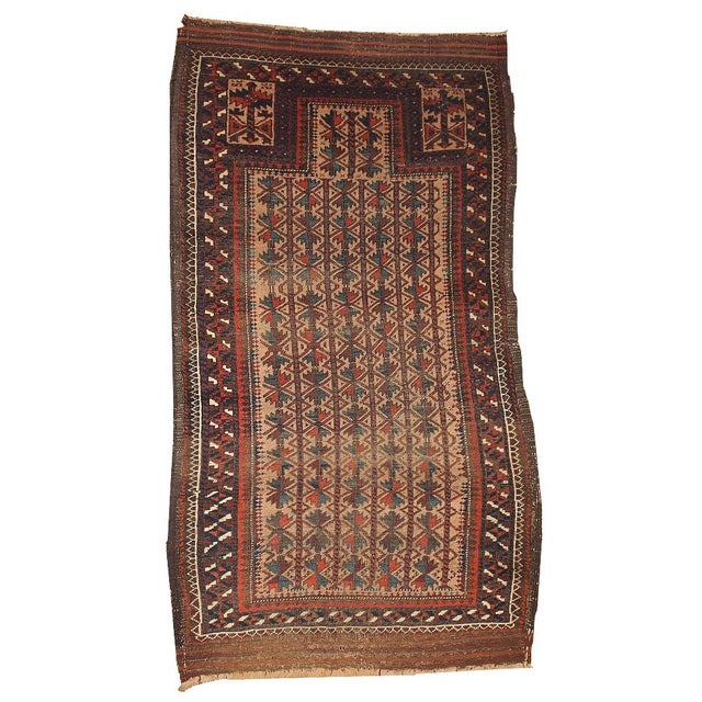 "Antique Turkoman Prayer Baluch Rug - 2'10"" X 5'3"" For Sale"
