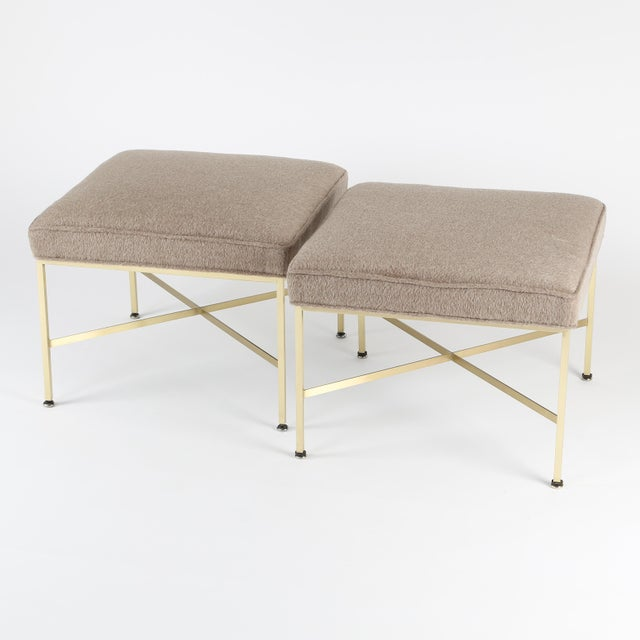 Mid-Century Modern 1950S VINTAGE PAUL MCCOBB X-BASE BRASS STOOLS- A PAIR For Sale - Image 3 of 10
