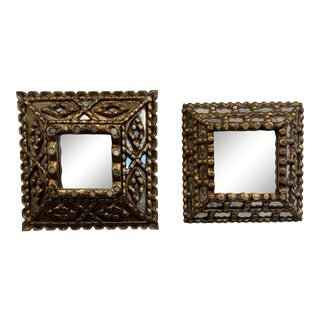 Antique Spanish Colonial Gilt Wood Mirrors - a Pair For Sale