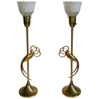 Vintage Brass Table Lamps With Stylized Exotic Bird - a Pair For Sale