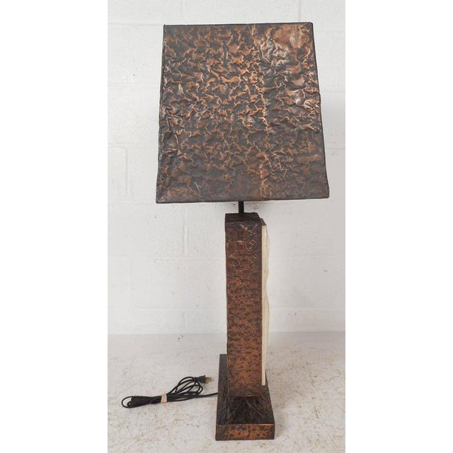 Unique Mid-Century Modern Textured Copper Table Lamp - Image 5 of 11