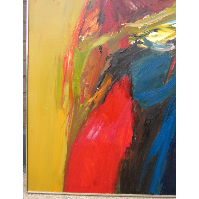 1970s Vintage Suzanne Peters Expressionist Style Portrait Oil on Board Painting For Sale - Image 9 of 11