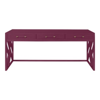 Casa Cosima CeCe Desk with Wood Fretwork Base, Grape Juice For Sale