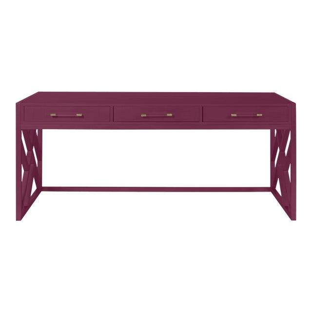 Casa Cosima CeCe Desk with Wood Fretwork Base, Grape Juice For Sale