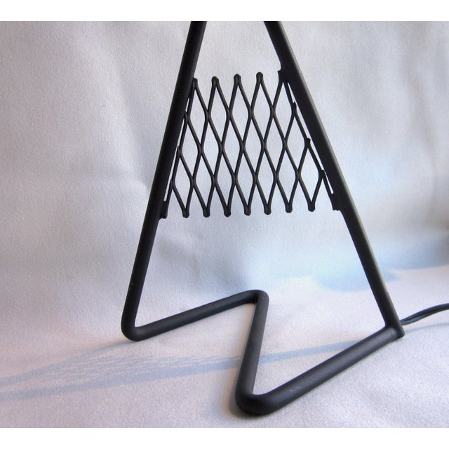 1950s French Vintage Mid-Century Modern Matte Black Aluminum Zig Zag Base Lattice Lamp For Sale - Image 9 of 10