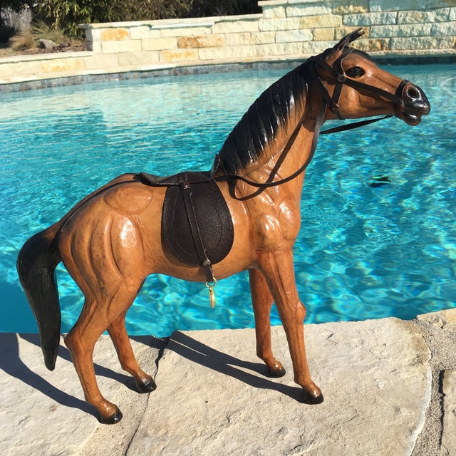 Vintage Equestrian Leather Saddled Horse - Image 2 of 10