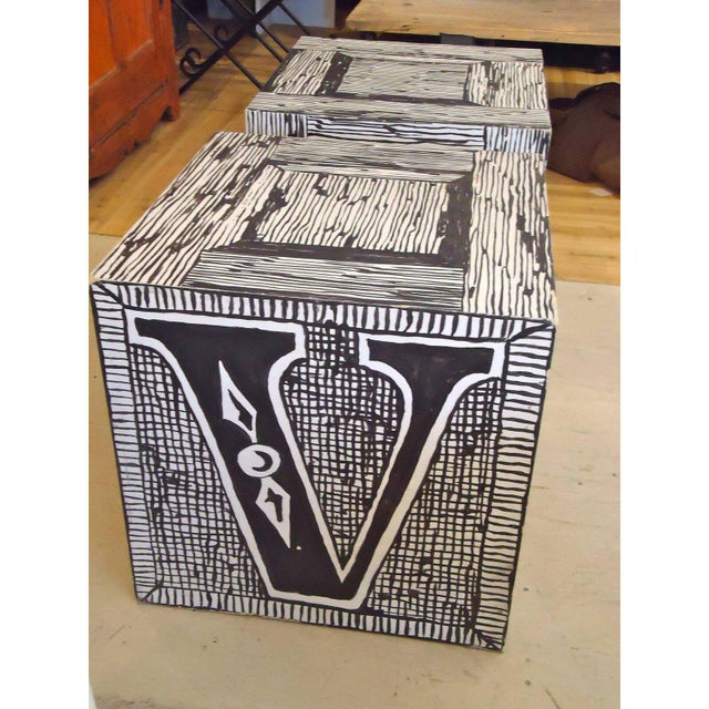 Edward Gorey Cube End/Coffee Tables-Set of 3 For Sale In New York - Image 6 of 7