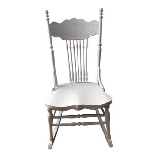 20th Century Early American White Wooden Rocking Chair