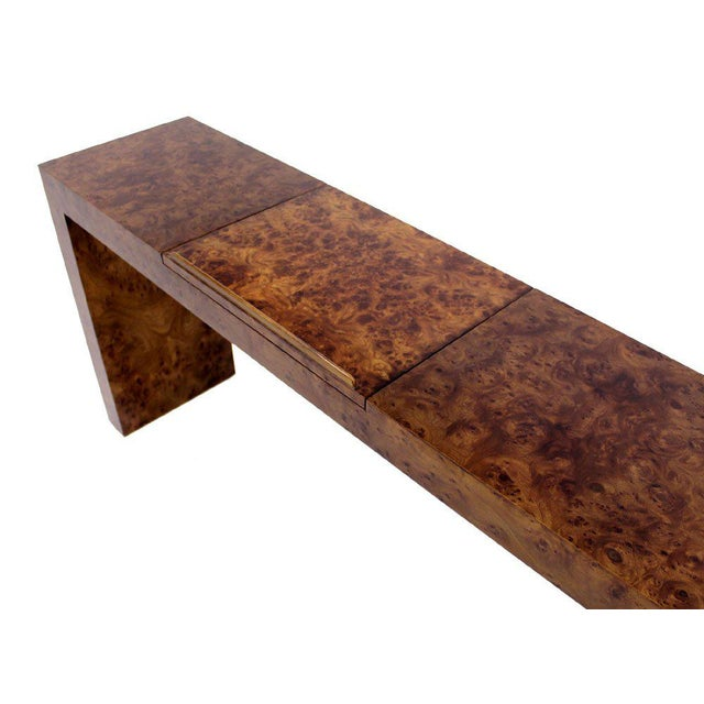 Mid-Century Modern Mid Century Burl Wood Walnut Adjustable Lift Tilt Top Console Table For Sale - Image 3 of 10