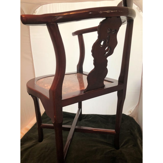 Antique Rosewood Hand Carved Cherry Blossom Inlay Corner Chair Granite Seat For Sale In Sacramento - Image 6 of 10