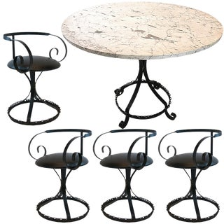 Marble-Top Chain Link Garden Patio Set in the Manner of George Mulhauser