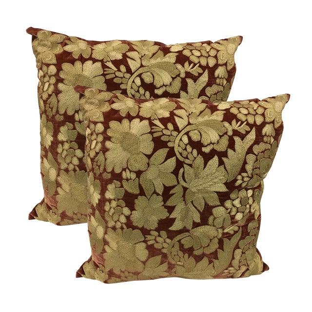 Anke Dreschel Velvet Embroidered Pillows - A Pair - Image 1 of 6
