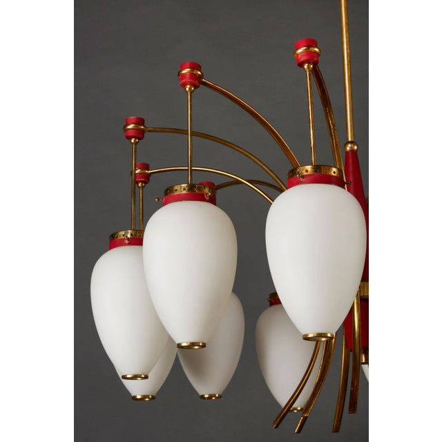 Brass Italian Stilnovo Twelve-Globe Chandelier For Sale - Image 7 of 10