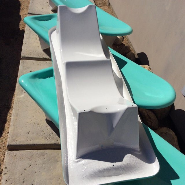 Turquoise Fibrella Chaise Lounges - Set of 4 For Sale - Image 8 of 8