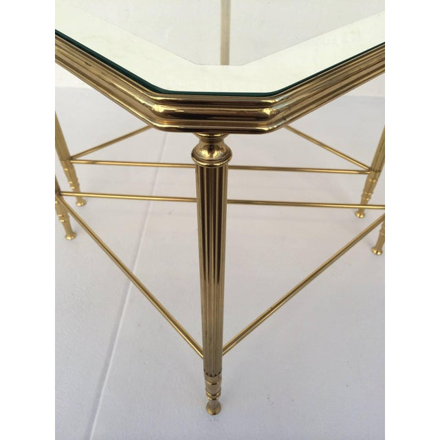 Gold Brass and Glass Tables by Maison Jansen - Set of 4 For Sale - Image 8 of 10