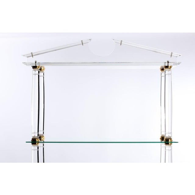 Metal Neoclassic Modern Lucite and Brass Etagere For Sale - Image 7 of 8