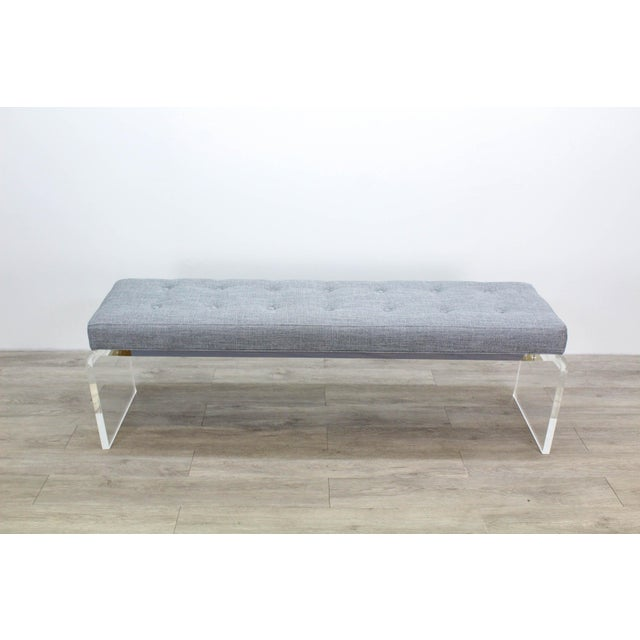 Elegant Custom Waterfall Acrylic & Linen Bench, Acrylic Bench, Gray Linen Bench For Sale - Image 10 of 10
