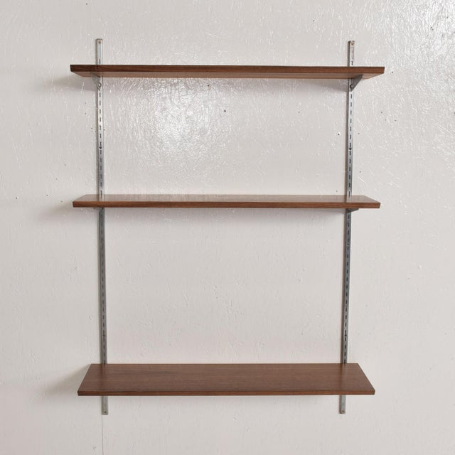 For your consideration, a vintage Bookcase Shelving Wall Unit, one Bay. Constructed with Walnut shelves & Aluminum...