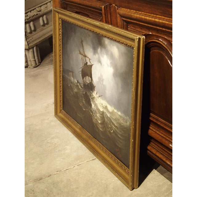 French Antique Oil on Canvas Marine Painting From Normandy France, 1883 For Sale - Image 3 of 13