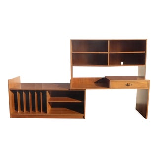 Danish Modern Writing Desk Bookcase With Storage Versatile For Sale