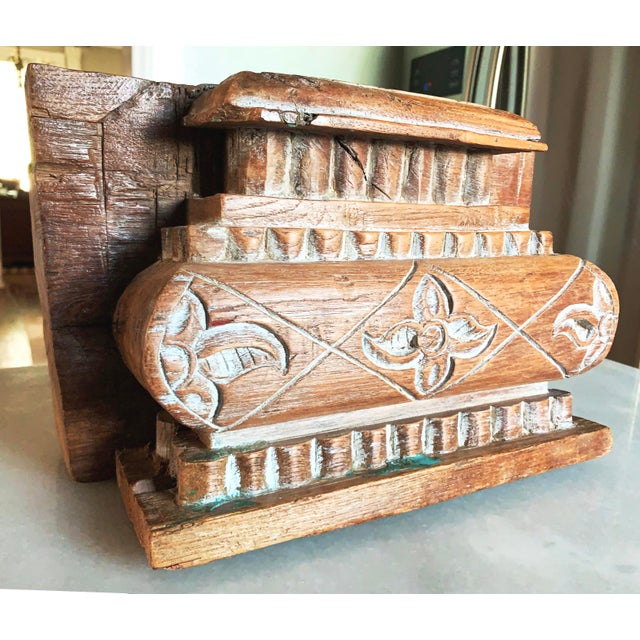 Anglo Indian Carved Light Teak Architectural Half Pillar Pilaster Capital Column Top For Sale - Image 13 of 13