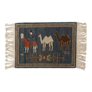 "Vintage Pictorial Armenian Herdsman Design Square Rug Mat - 1'10"" X 2'5"" For Sale"