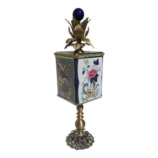 Recycled Floral Peonies Tea Tin Sculpture For Sale