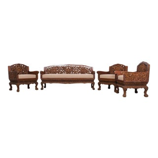 Anglo Raj Carved Rosewood Sofa Set - Set of 4 For Sale