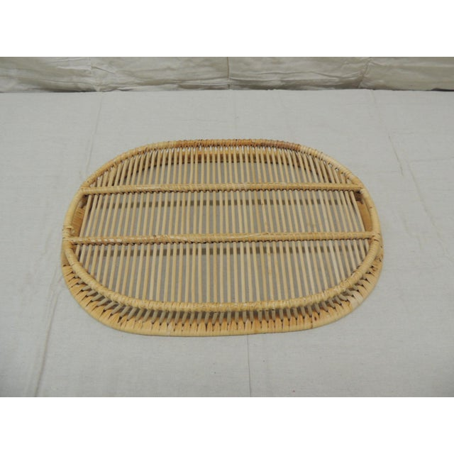 Late 20th Century Vintage Rattan Woven Oval Serving Tray With Handles For Sale - Image 5 of 6