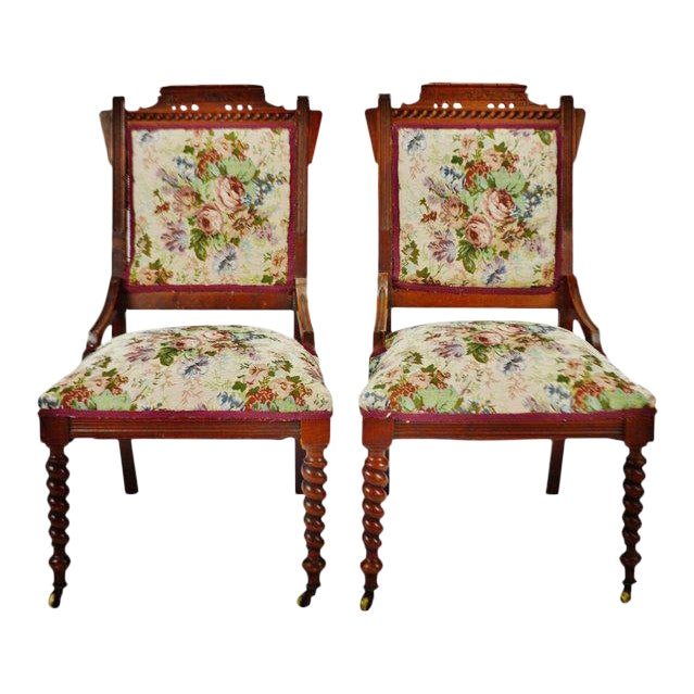 Victorian Eastlake Side Chairs - a Pair For Sale