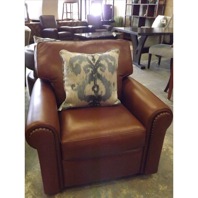 Brown Leather Swivel Recliner With Nailhead Trim - Image 3 of 5