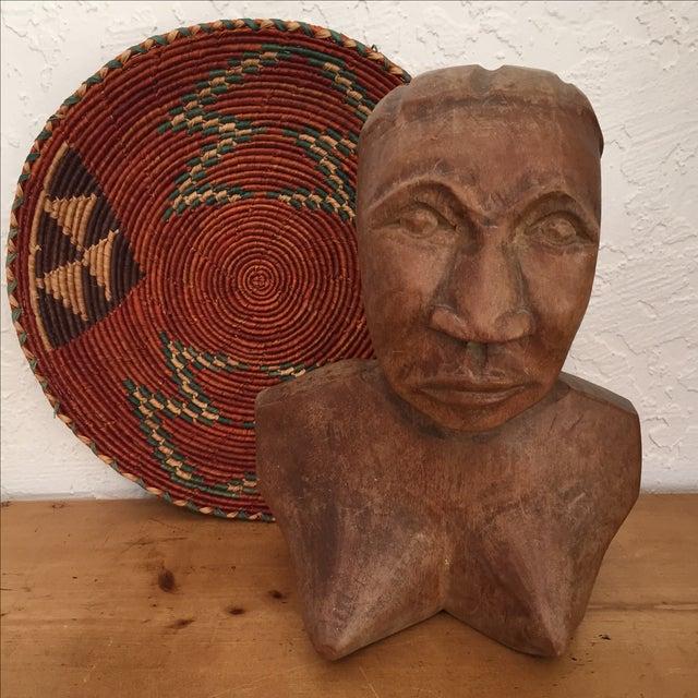Vintage Hand Carved Female Bust Wood Sculpture - Image 3 of 9