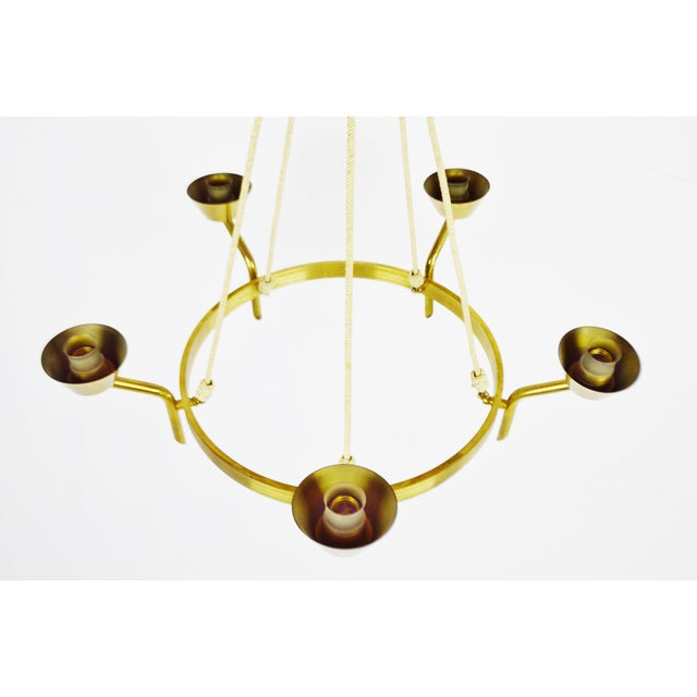 Antique Brass & Rope Chain 5 Light Chandelier - Image 3 of 10
