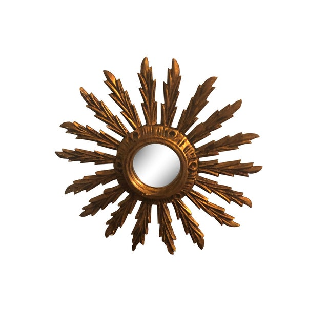 Wood Mid Century French Giltwood Sunburst Mirror For Sale - Image 7 of 7