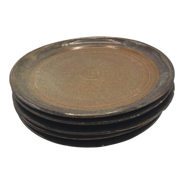 Studio Pottery Brown Clay & Glaze Plates - Set of 6 For Sale