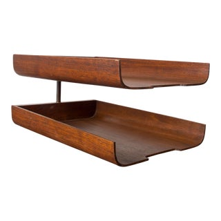 Midcentury Modern Bent Plywood Office Desk Paper Holder Tray in Walnut For Sale