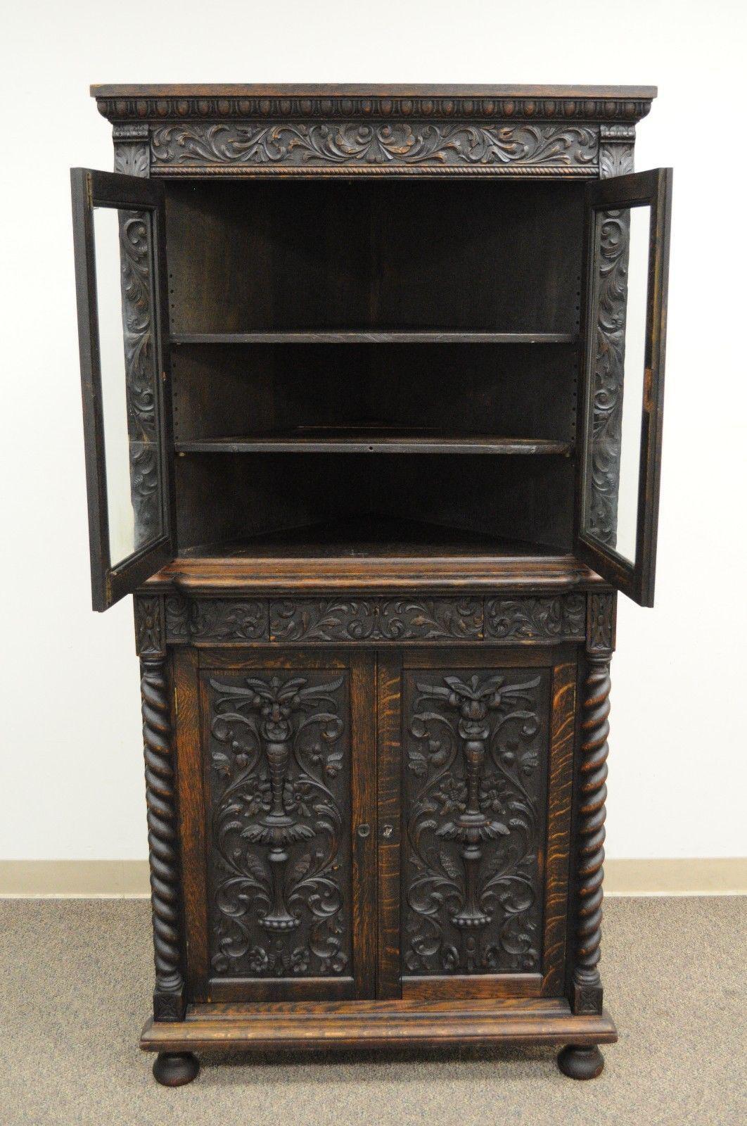Antique Corner China Cabinet Cupboard Renaissance Revival Belgian Carved  Oak For Sale   Image 5 Of