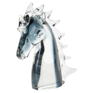 Mid-Century Modern Hand Blown Murano Smoked Translucent Glass Stallion's Head For Sale