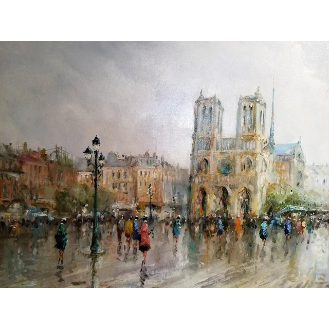1980s Paris Notre Dame Oil Painting on Canvas by Demone For Sale - Image 5 of 11