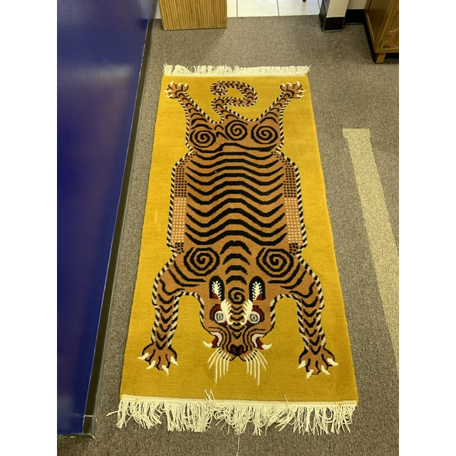 White Hand Knotted Tibetan Tiger Rug For Sale - Image 8 of 9