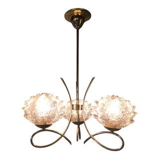French Mid-Century Modern Three Light Chandelier For Sale