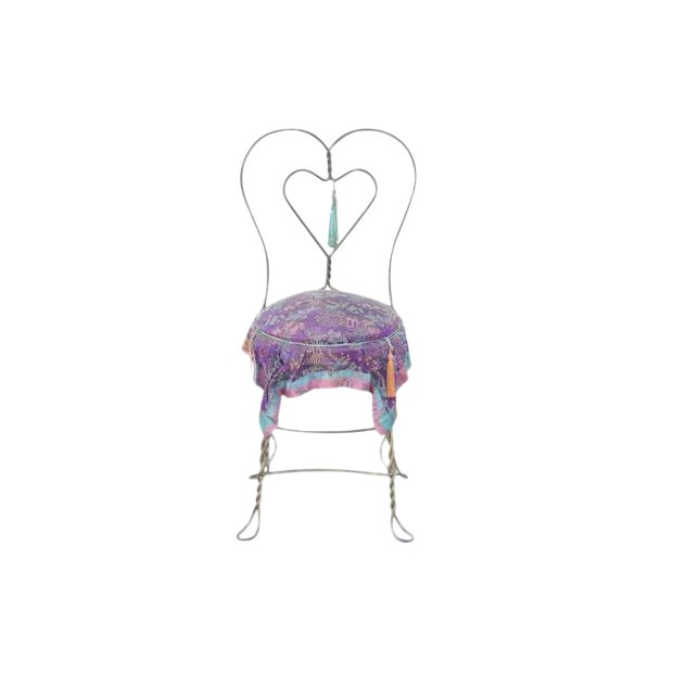 Chinoiserie Style Heart Ice Cream Accent Chair - Image 1 of 6