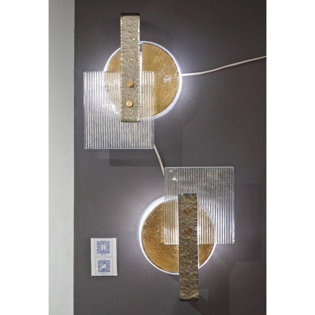 Contemporary Venetian pair of elegant modernist geometric wall lights/ flush mounts, abstract sculpture Design, entirely...