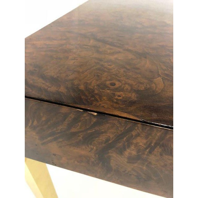 1970's Burl Wood and Brass Tables - a Pair For Sale - Image 9 of 10