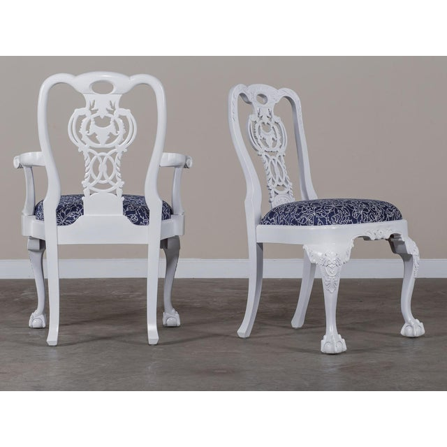 George III Chippendale Style Painted Dining Chairs - Set of 8 For Sale - Image 9 of 10